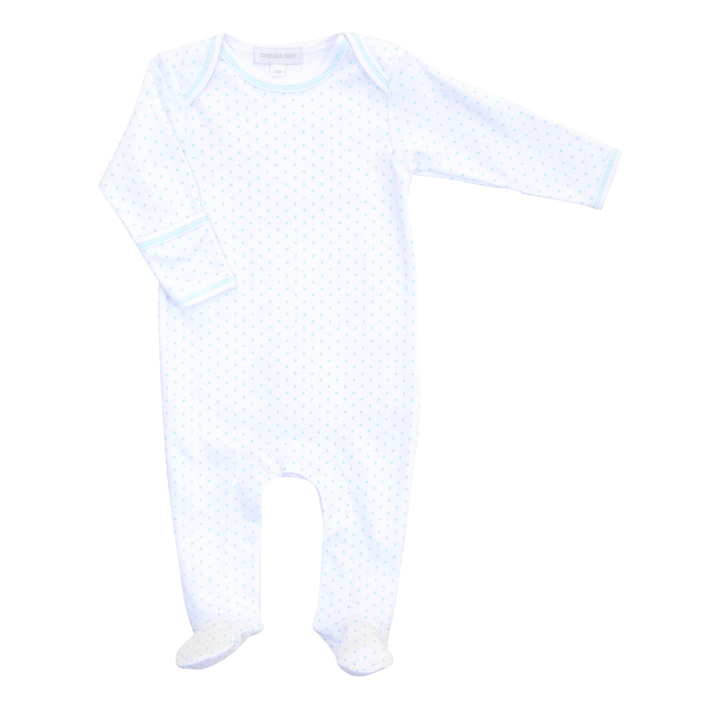 Magnolia Baby Essentials Blue Mini Dots Lap Footie - Personalization Available