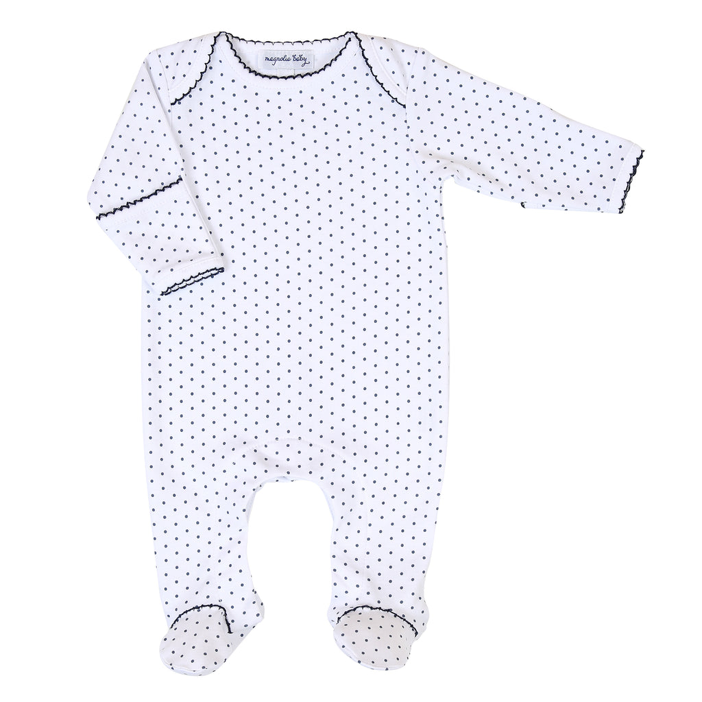 Magnolia Baby Essentials Navy Blue Mini Dots Lap Footie - Personalization Available