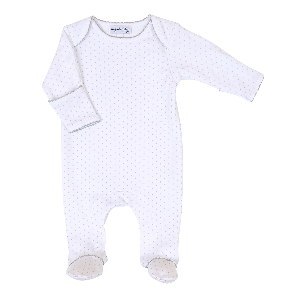 Magnolia Baby Essentials Grey Mini Dots Lap Footie - Personalization Available