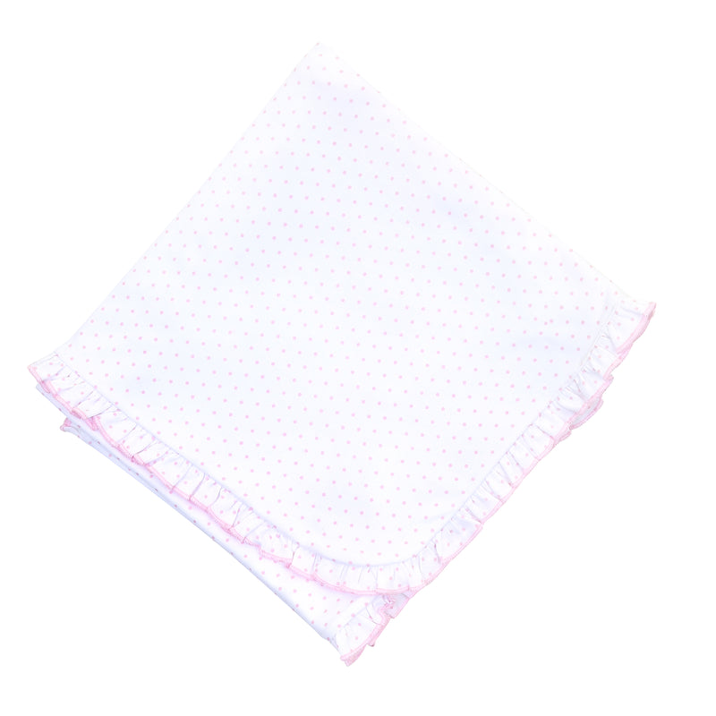 Magnolia Baby Essentials Pink Mini Dots Ruffle Blanket - Personalization Available