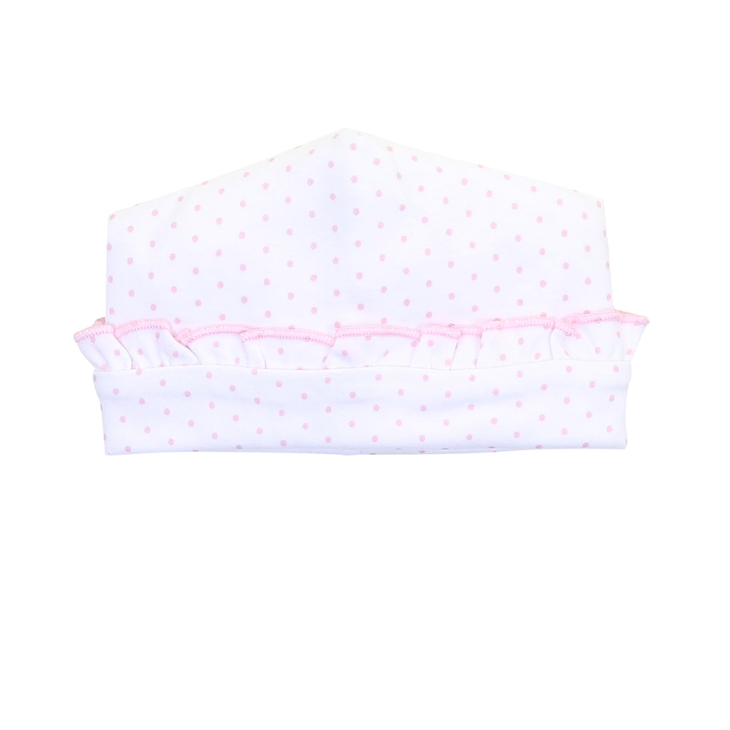 Magnolia Baby Essentials Pink Mini Dots Ruffle Hat - Personalization Available