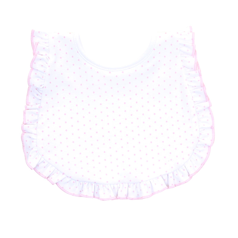 Magnolia Baby Essentials Pink Mini Dots Ruffle Bib - Personalization Available
