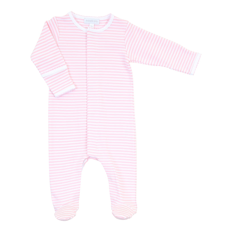 Magnolia Baby Essentials Pink Stripes Footie - Personalization Available