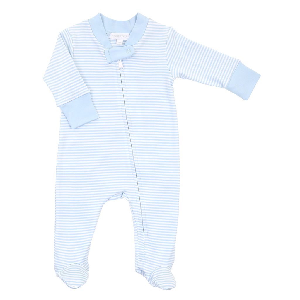 Magnolia Baby Essentials Blue Stripe Zip Footie - Personalization Available