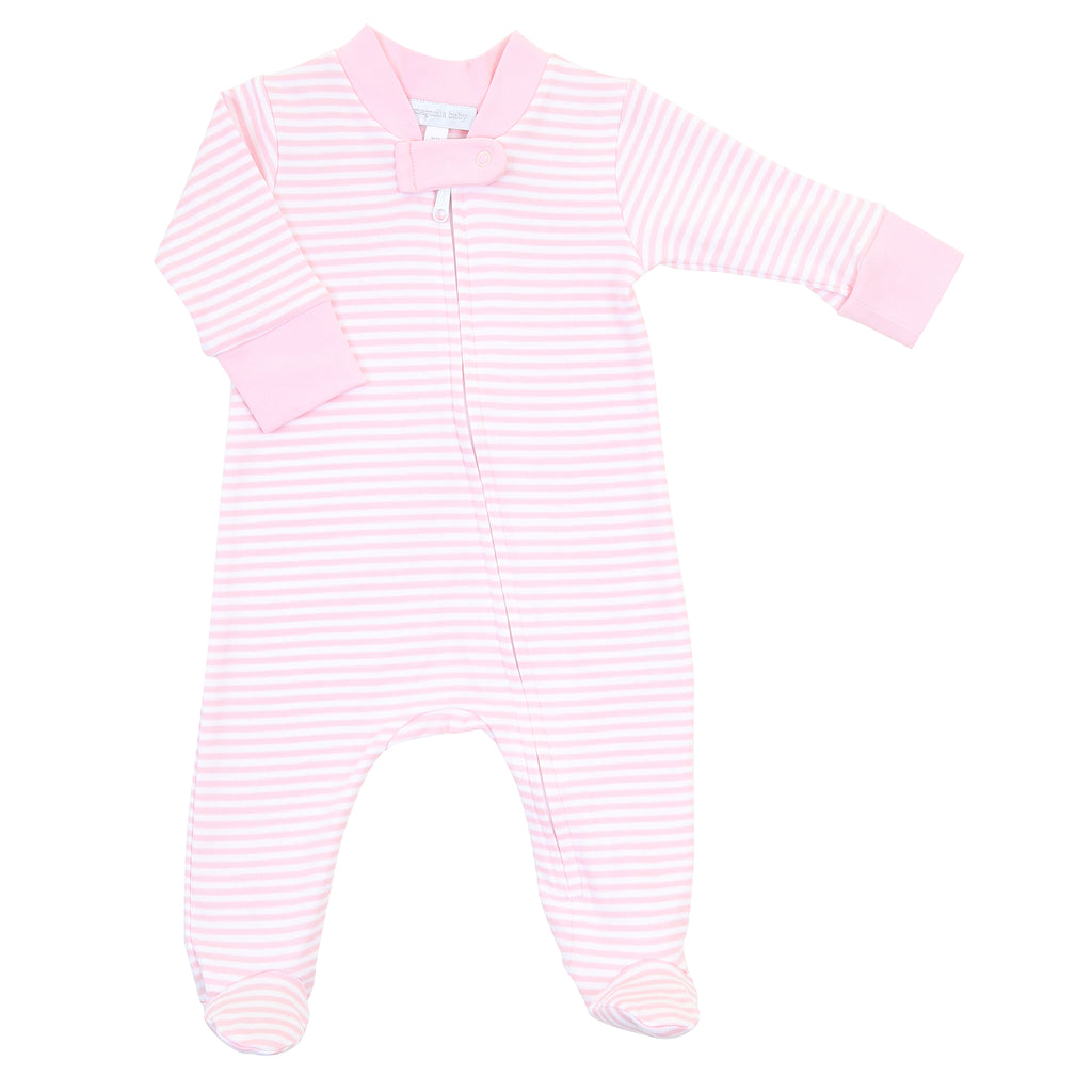 Magnolia Baby Essentials Pink Stripe Zip Footie - Personalization Available