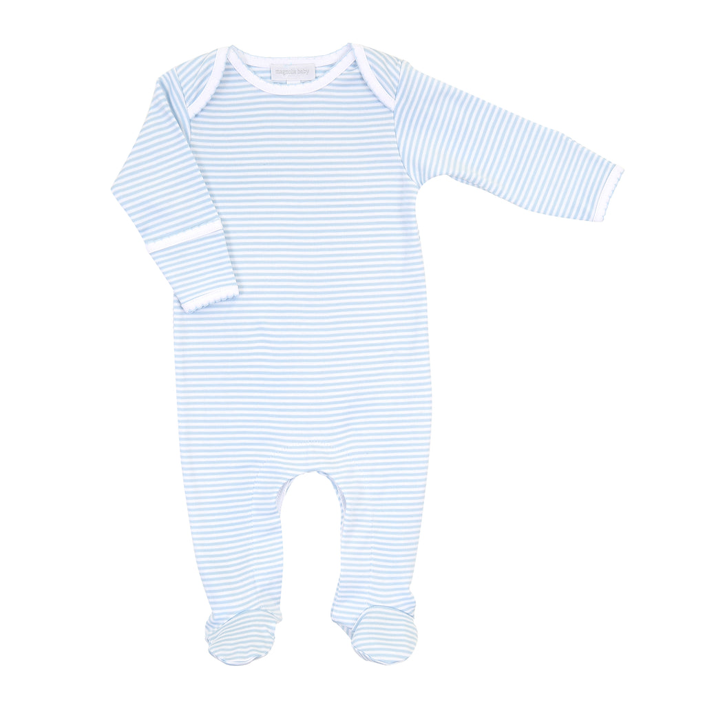 Magnolia Baby Essentials Blue Stripe Lap Shoulder Footie - Personalization Available