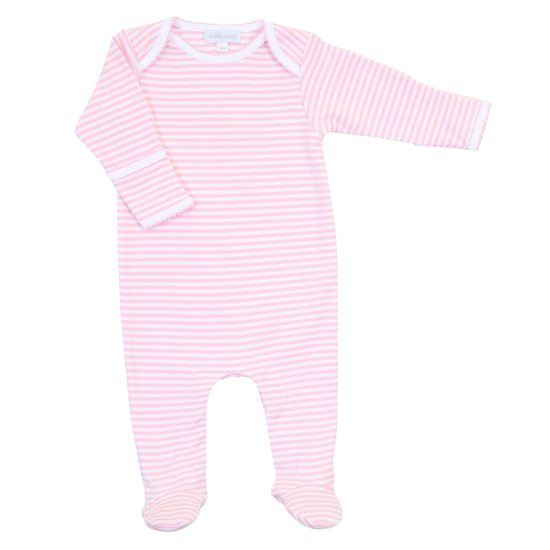 Magnolia Baby Essentials Pink Stripe Lap Shoulder Footie - Personalization Available