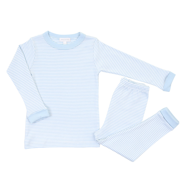 Magnolia Baby Essentials Blue Stripe Long Pajamas - Personalization Available