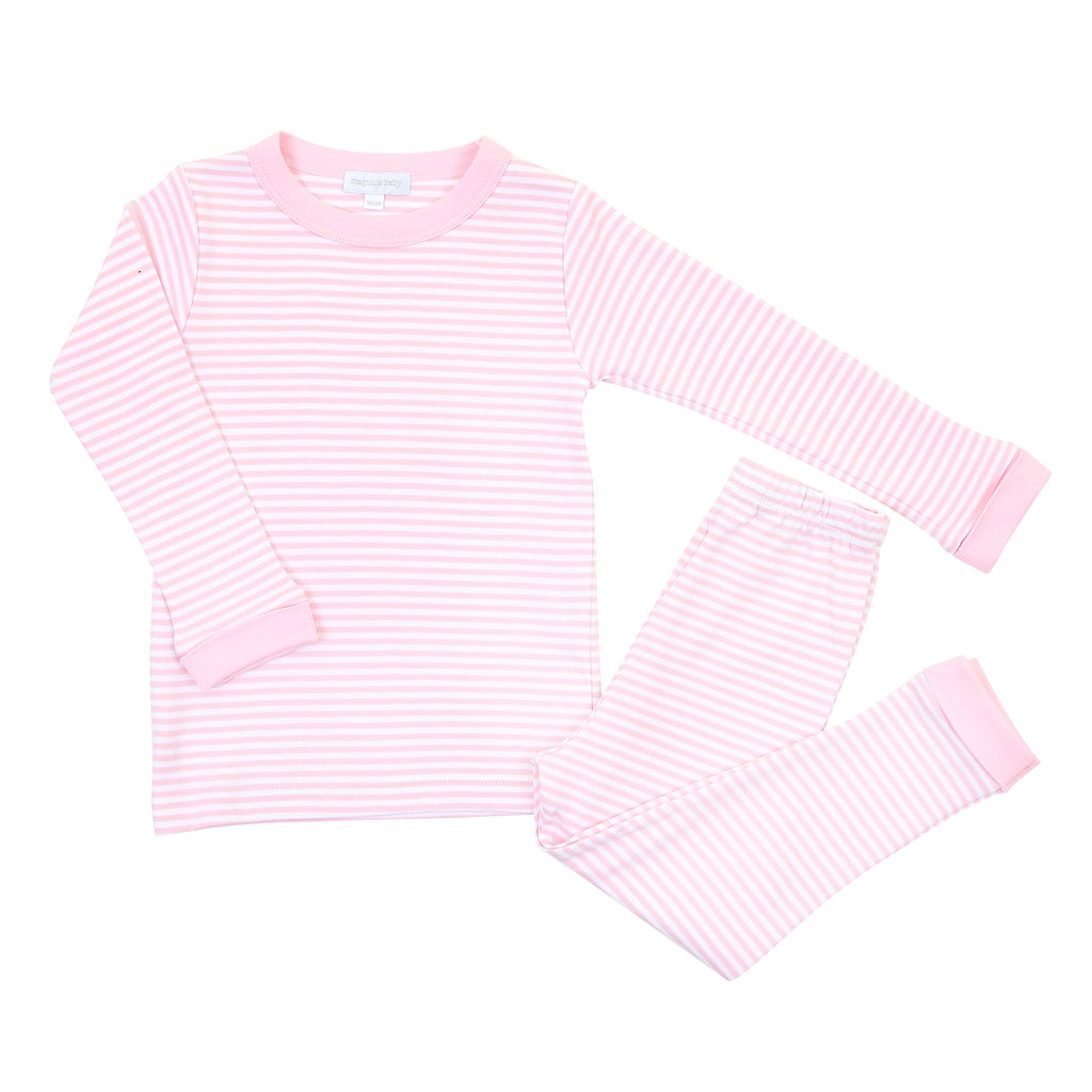 Magnolia Baby Essentials Pink Stripe Long Pajamas - Personalization Available