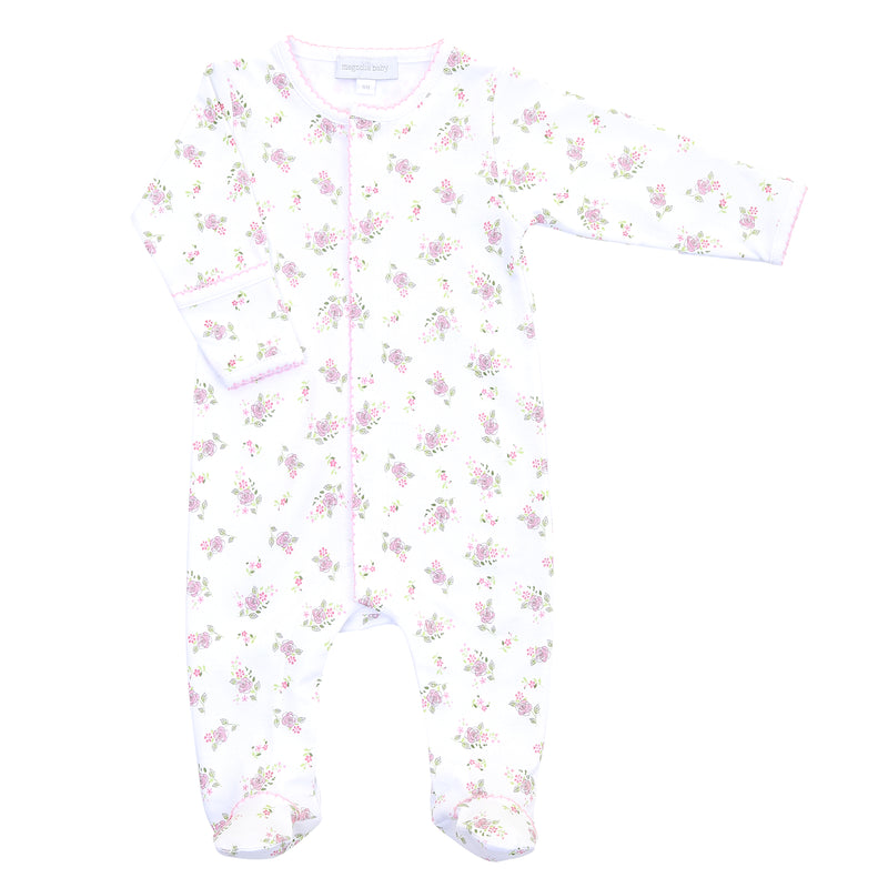 Magnolia Baby Essentials Hope's Rose Print Footie - Personalization Available