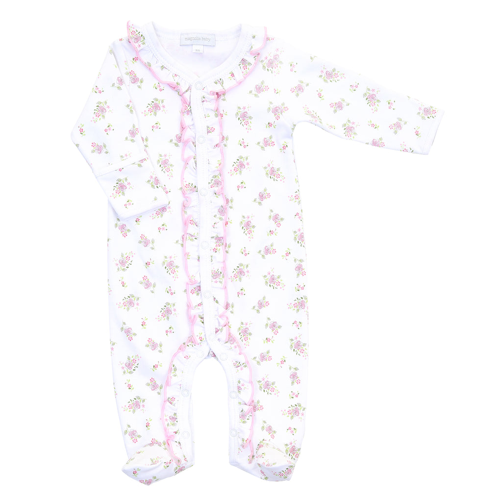 Magnolia Baby Essentials Hope's Rose Print Ruffle Footie