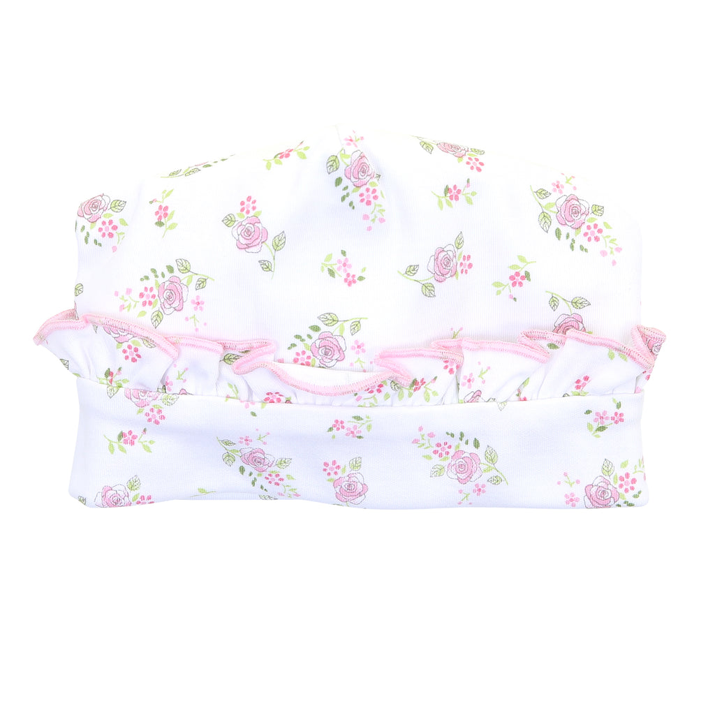 Magnolia Baby Essentials Hope's Rose Print Ruffled Hat - Personalization Available