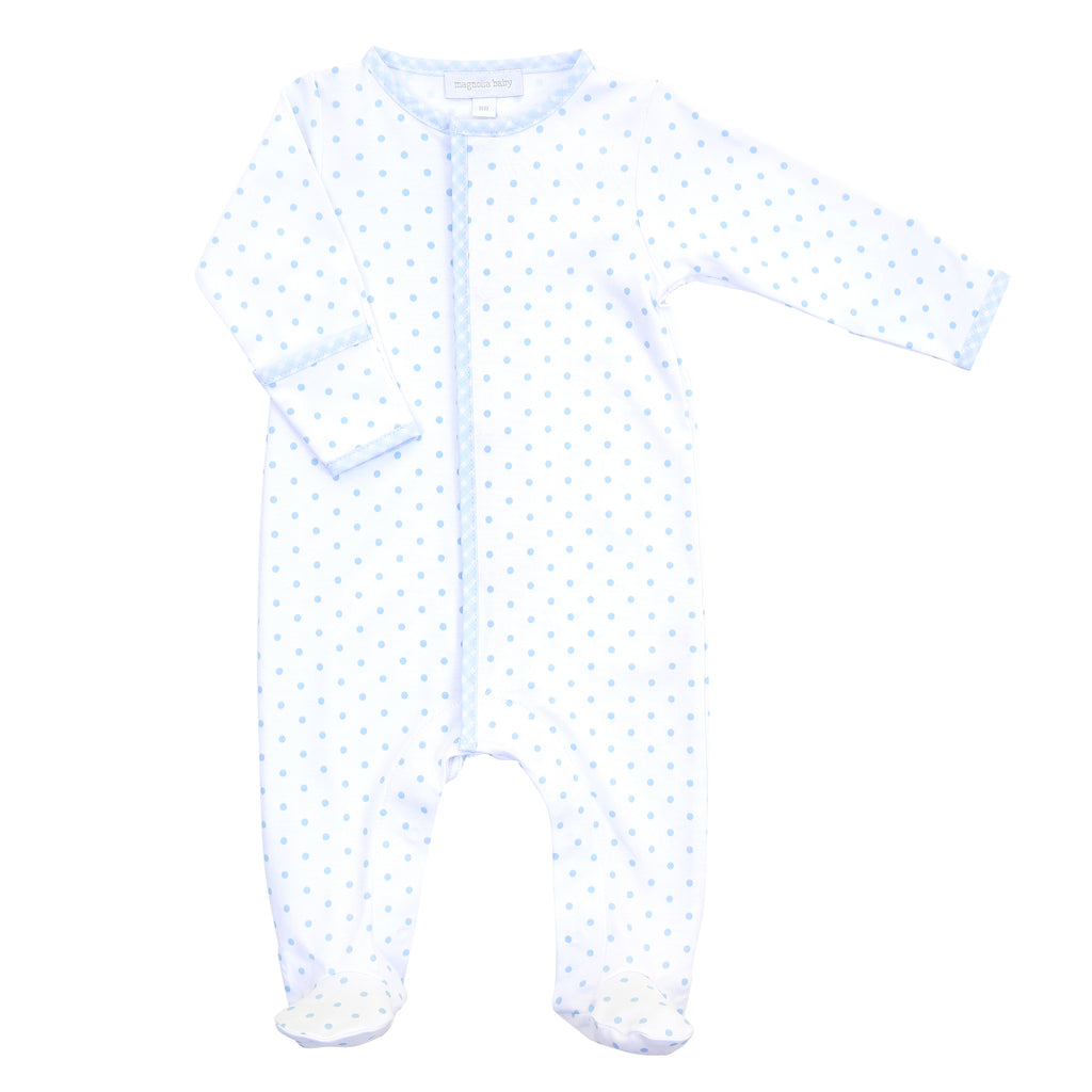 Magnolia Baby Essentials Blue Gingham Dots Footie - Personalization Available