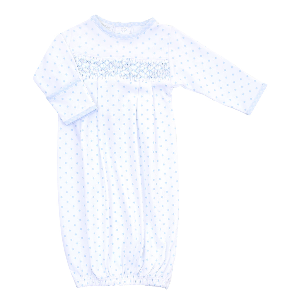 Magnolia Baby Essentials Blue Gingham Dots Smocked Gown - Monogram Available