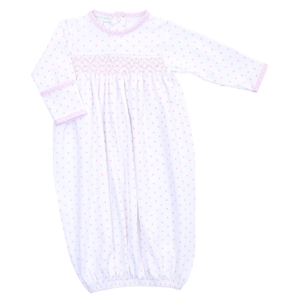 Magnolia Baby Essentials Pink Gingham Dots Smocked Gown - Monogram Available