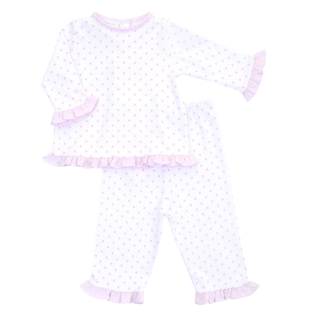 Magnolia Baby Essentials Pink Gingham Dots Ruffle Pants Set - Personalization Available
