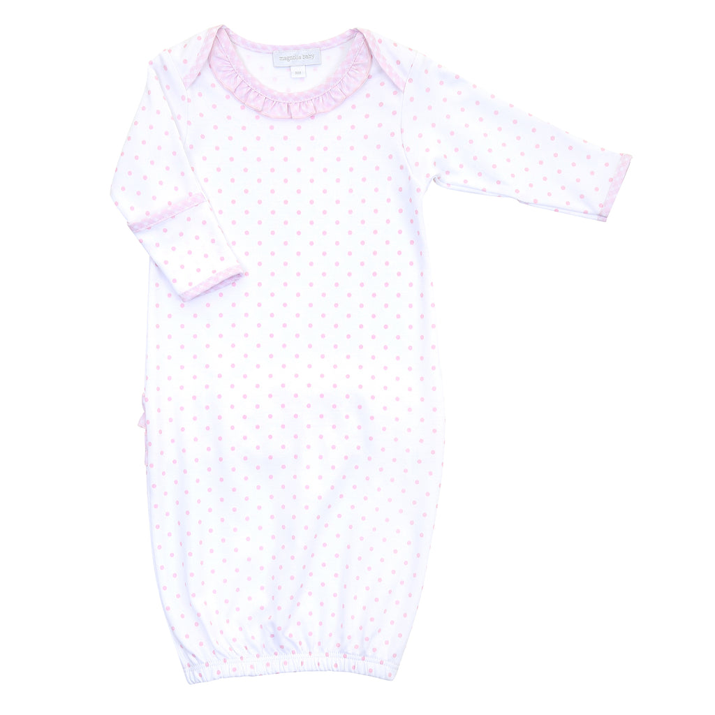 Magnolia Baby Essentials Pink Gingham Dots Lap Ruffle Gown - Personalization Available