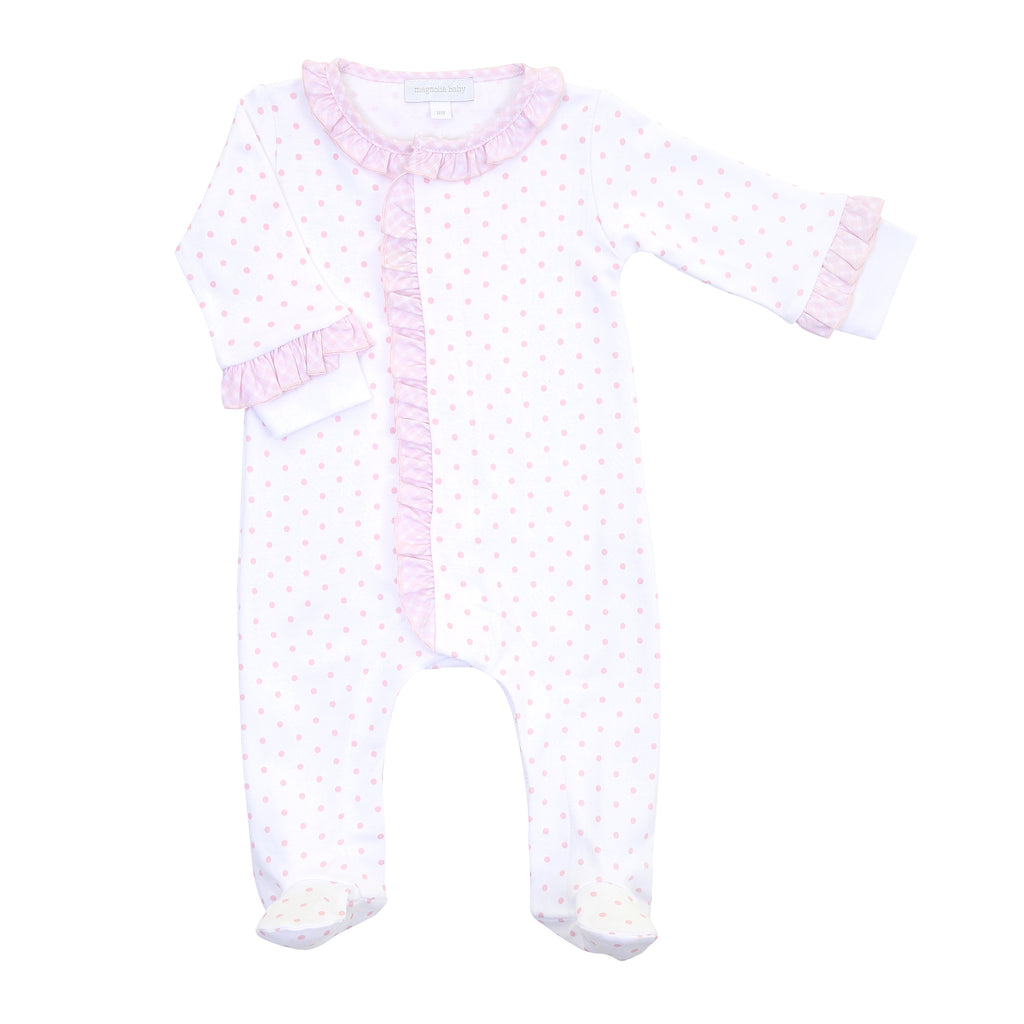 Magnolia Baby Essentials Pink Gingham Dots Ruffle Footie - Personalization Available