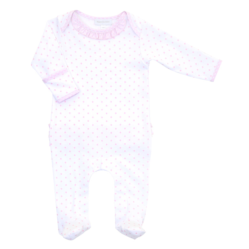 Magnolia Baby Essentials Pink Gingham Dots Lap Shoulder Ruffle Footie - Personalization Available