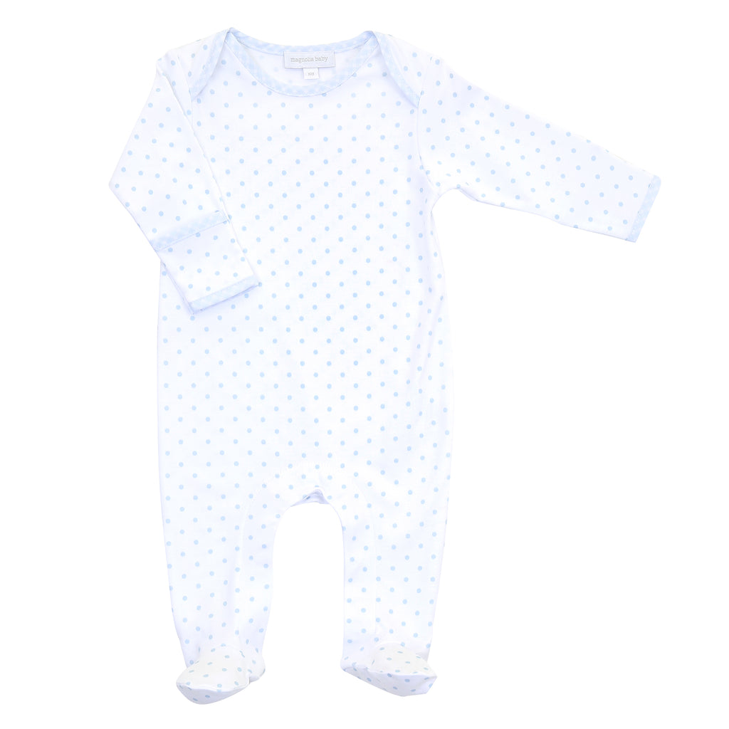 Magnolia Baby Essentials Blue Gingham Dots Lap Footie - Personalization Available