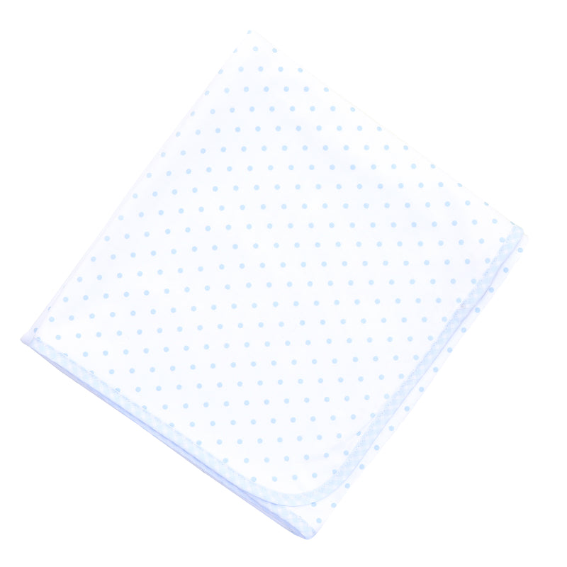Magnolia Baby Essentials Blue Gingham Dots Receiving Blanket - Personalization Available