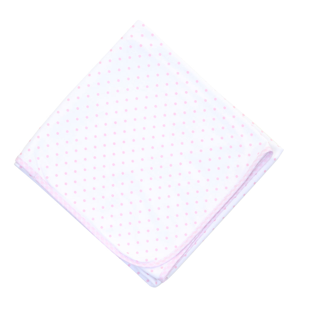 Magnolia Baby Essentials Pink Gingham Dots Blanket - Personalization Available