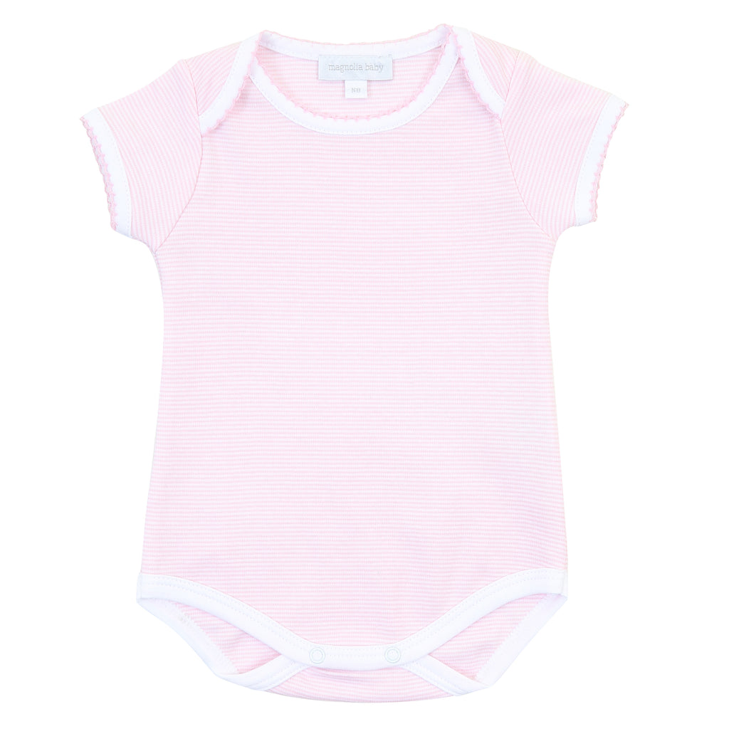 Magnolia Baby Essentials Pink Mini Stripe Short Sleeve Bodysuit - FREE Personalization Available