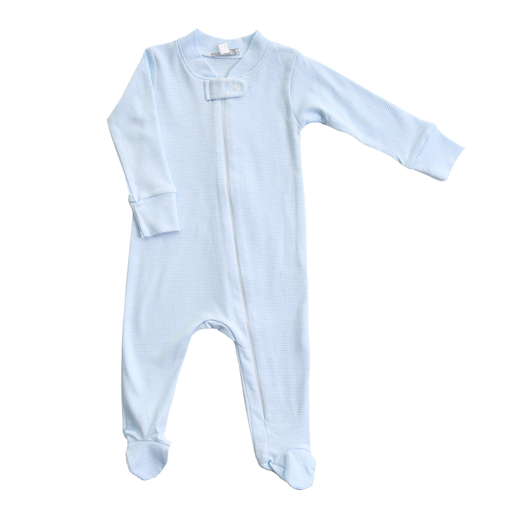 Magnolia Baby Essentials Blue Mini Stripe Zip Footie - Personalization Available