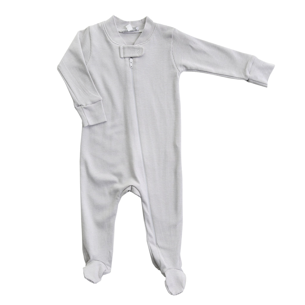 Magnolia Baby Essentials Unisex Grey Mini Stripe Zip Footie - Personalization Available