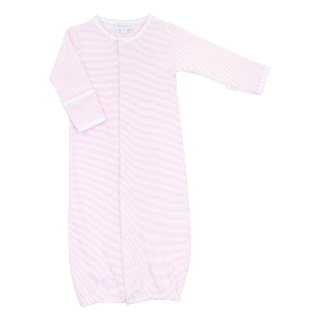 Magnolia Baby Essentials Pink Mini Stripe Converter Gown - Personalization Available