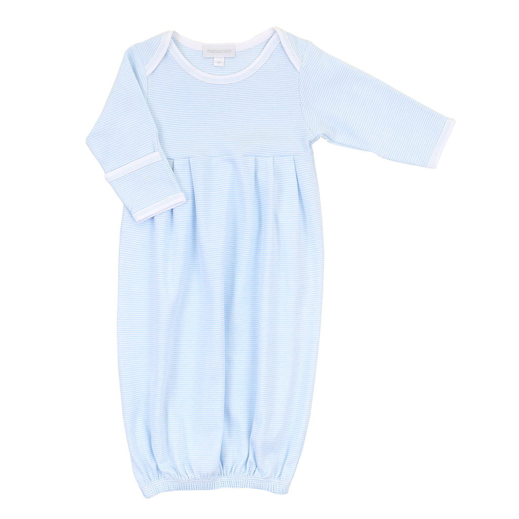 Magnolia Baby Essentials Blue Mini Stripe Pleated Gown - Personalization Available