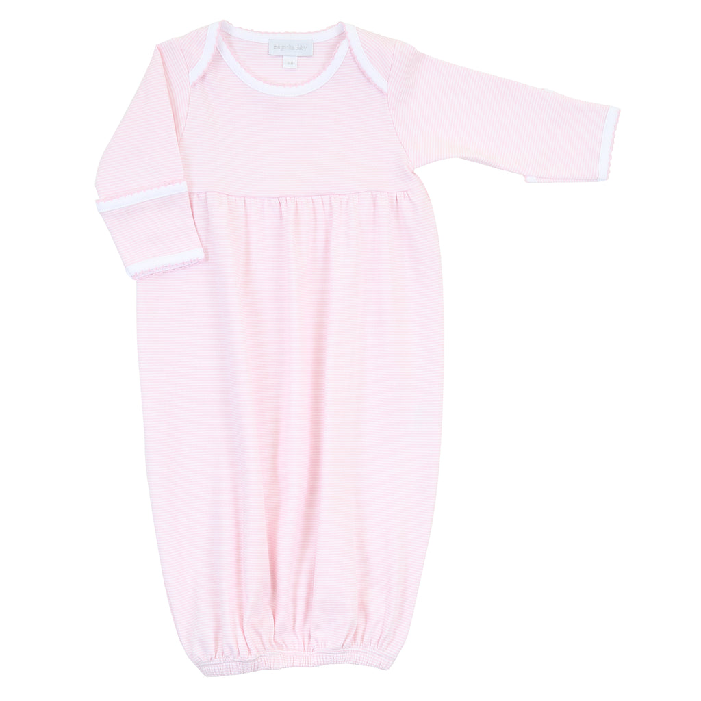 Magnolia Baby Essentials Pink Mini Stripe Gathered Gown - Personalization Available
