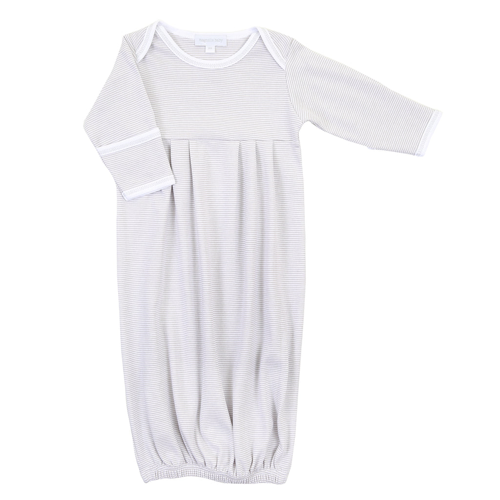 Magnolia Baby Essentials Grey Mini Stripe Gathered Gown - FREE Personalization Available