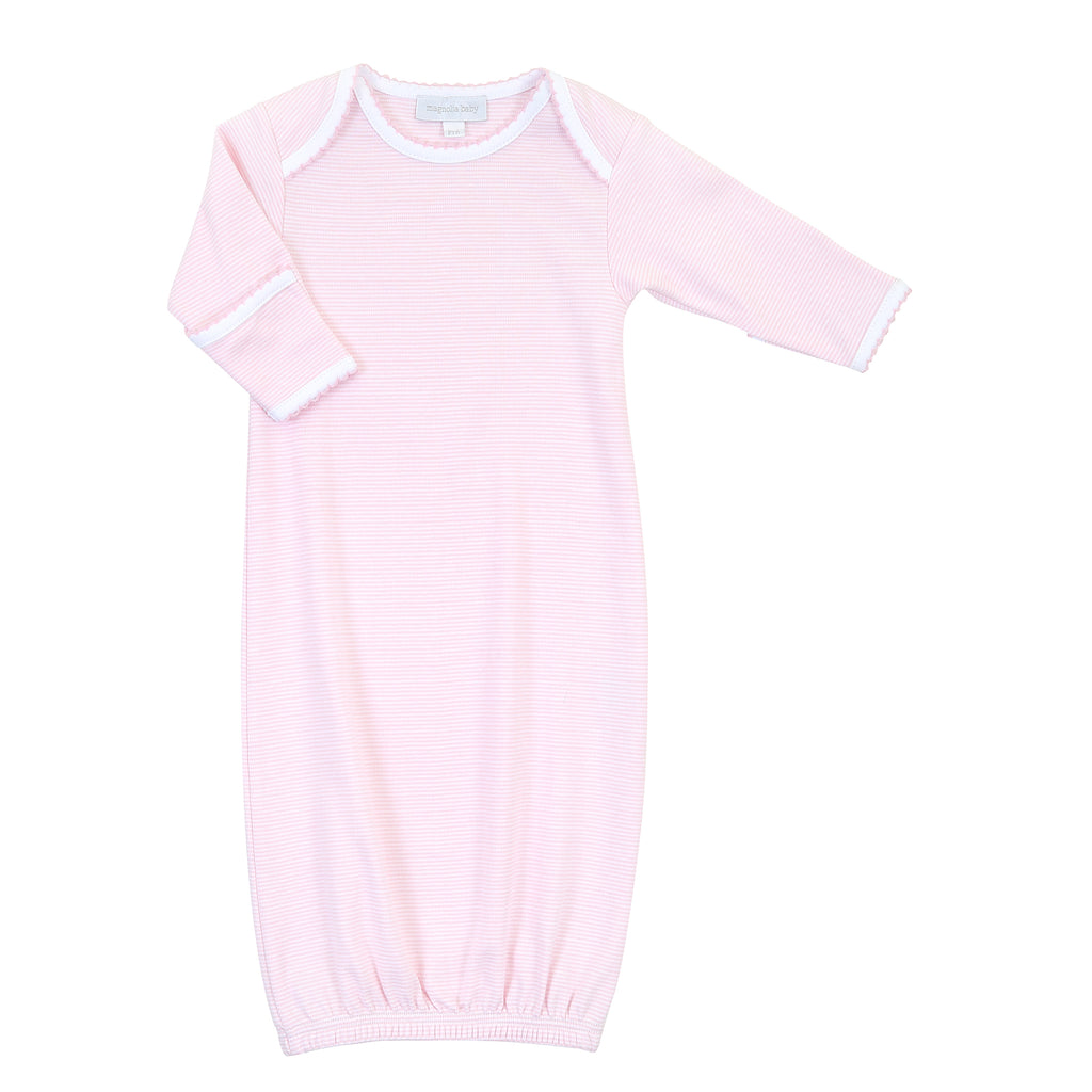Magnolia Baby Essentials Pink Mini Stripe Lap Shoulder Gown - Personalization Available