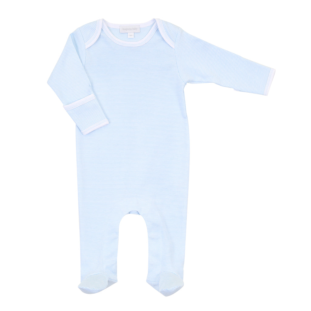 Magnolia Baby Essentials Blue Mini Stripe Lap Shoulder Footie - FREE Personalization Available