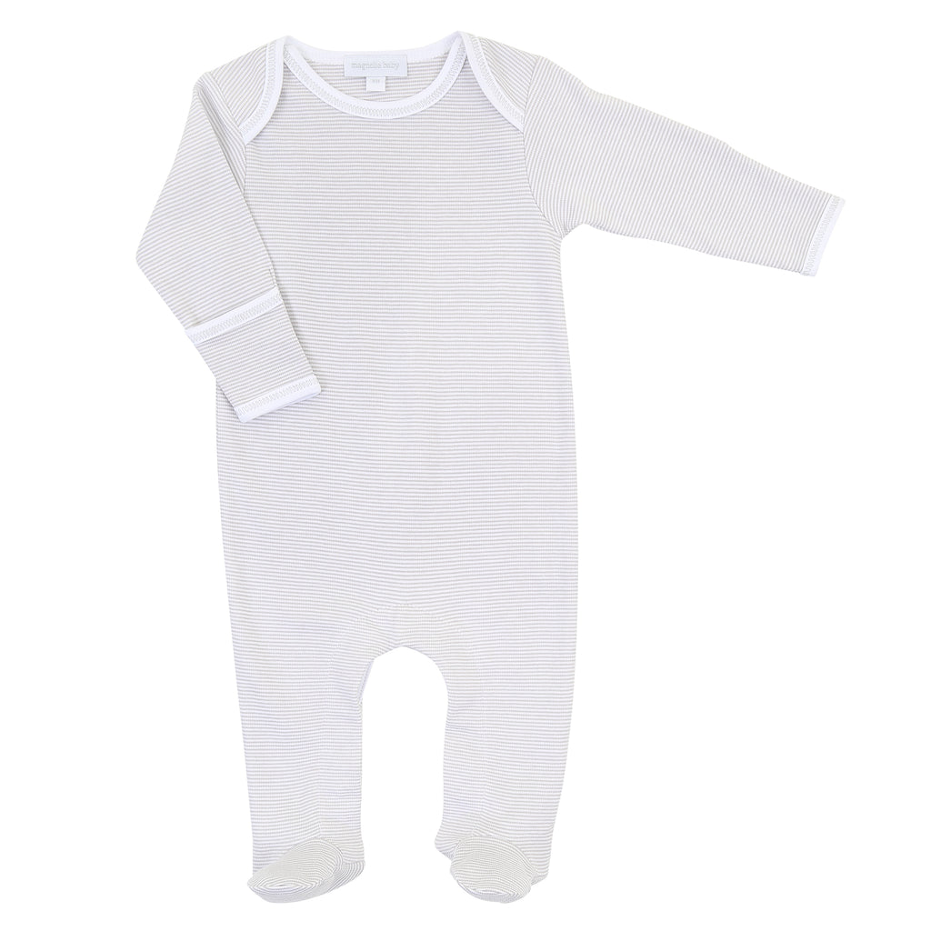 Magnolia Baby Essentials Grey Mini Stripe Lap Shoulder Footie - Personalization Available