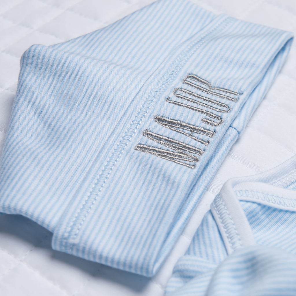 Magnolia Baby Essentials Blue Mini Stripe Hat - Personalization Available