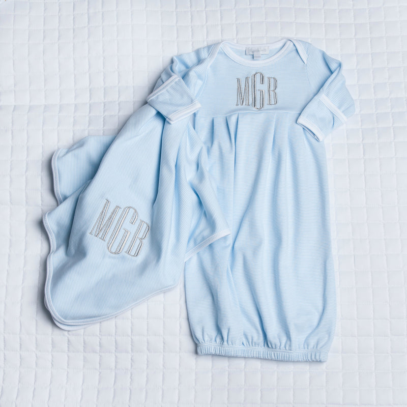 Magnolia Baby Blue Mini Stripe Pleated Gown + Blanket Set - Personalization Available