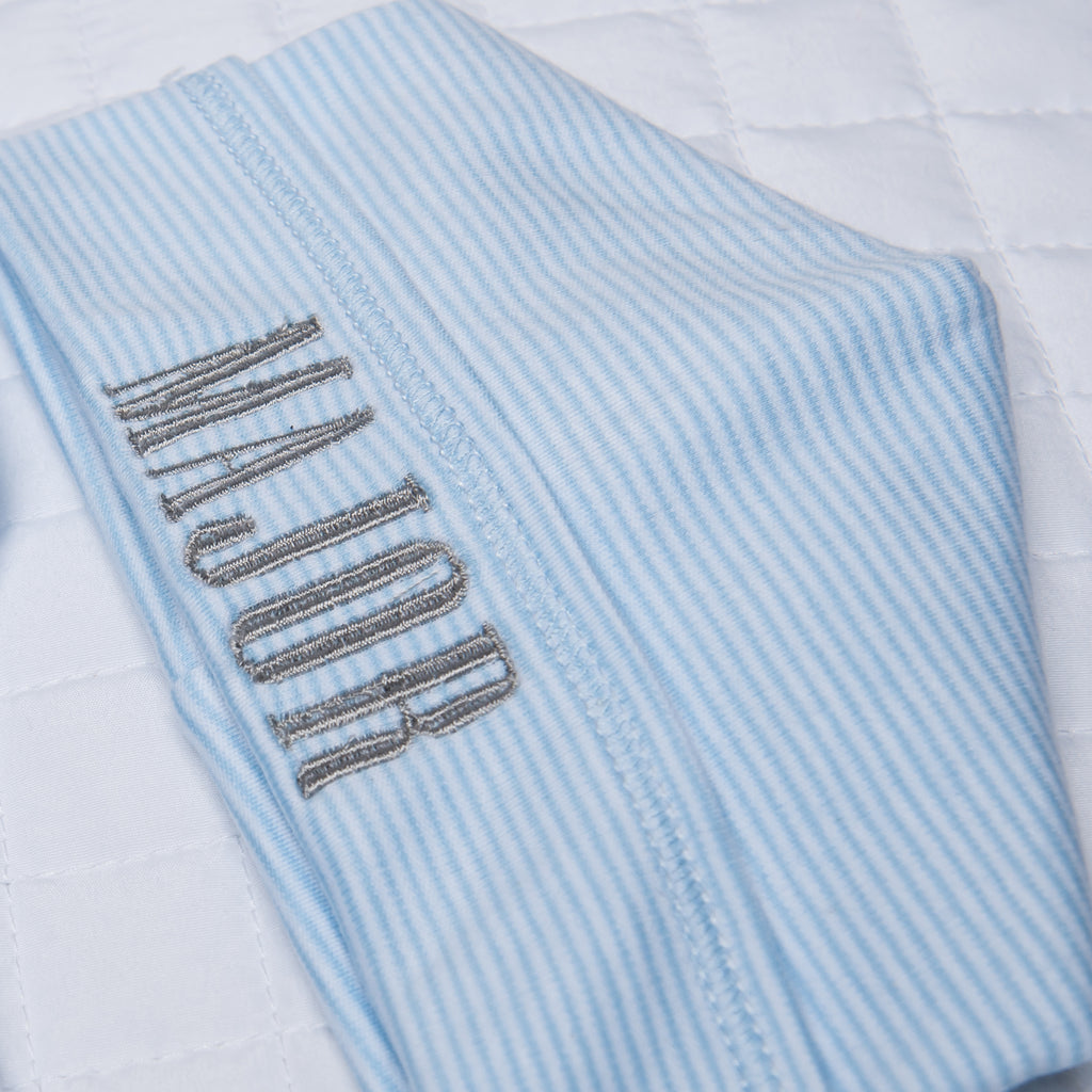 Magnolia Baby Blue Mini Stripe Lap Shoulder Footie + Hat + Blanket - Personalization Available