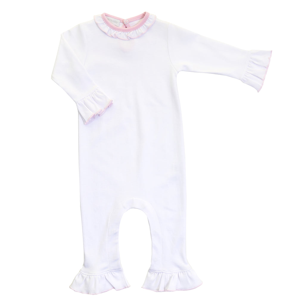 Magnolia Baby Essentials White with Pink Trim Ruffle Playsuit - Personalization Available *** Anniversary Special