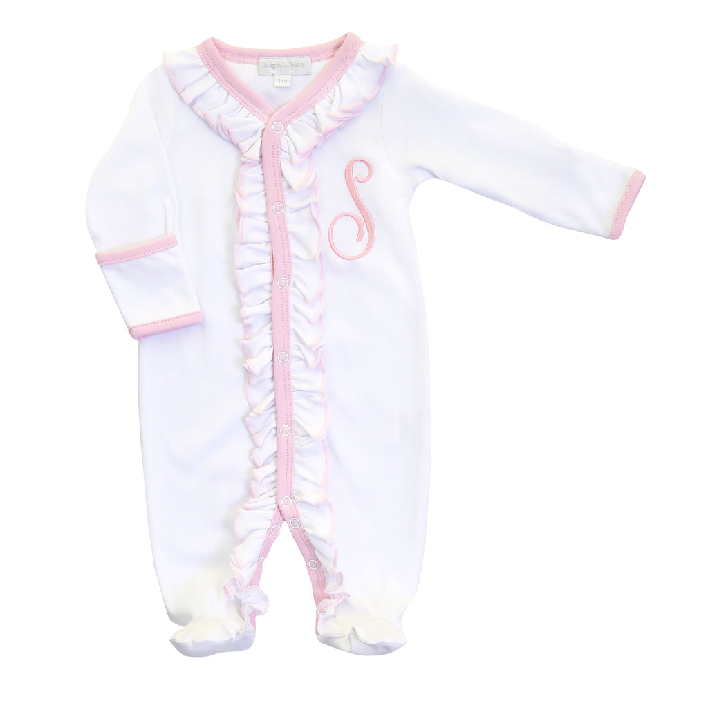 Magnolia Baby Essentials White with Pink Ruffle Footie - Personalization Available