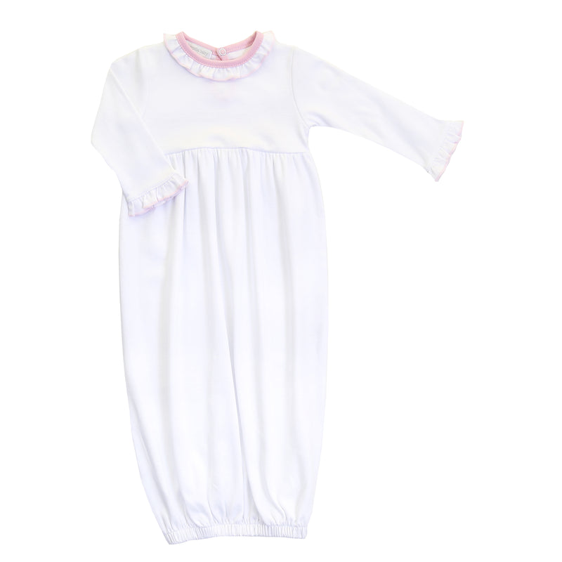 Magnolia Baby Essentials White with Pink Trim Ruffle Gown - Personalization Available