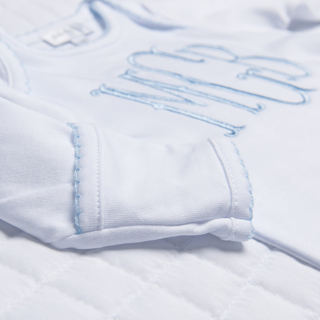 Magnolia Baby Essentials White with Blue Trim Lap Shoulder Footie - Personalization Available