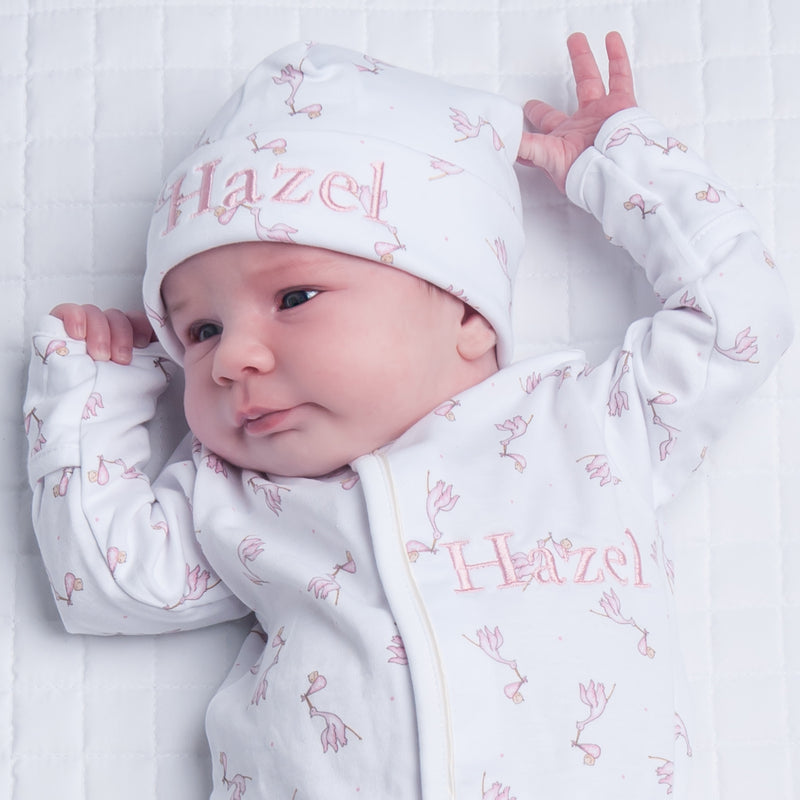Magnolia Baby Pink Print Worth The Wait Footie + Hat Set - Personalization Available