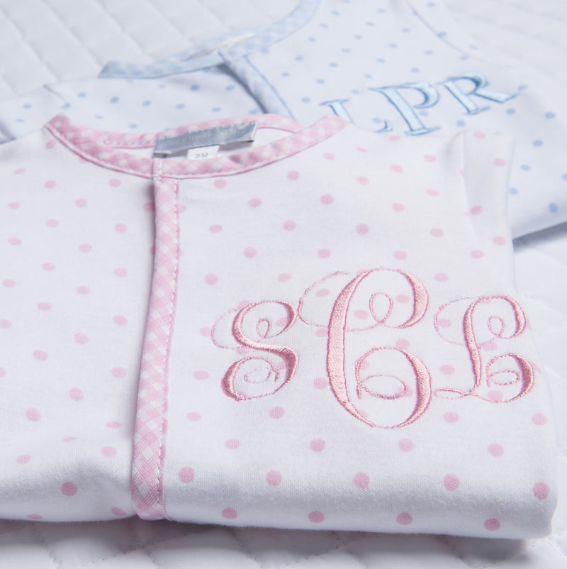 Magnolia Baby Gingham Dots Boy/Girl Twin Footie Set - Personalization Available