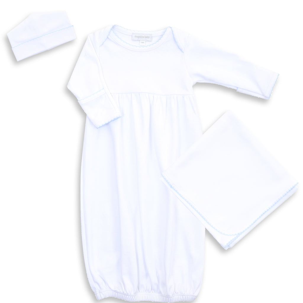 Magnolia Baby White with Blue Trim Gown Layette Set - Personalization Available