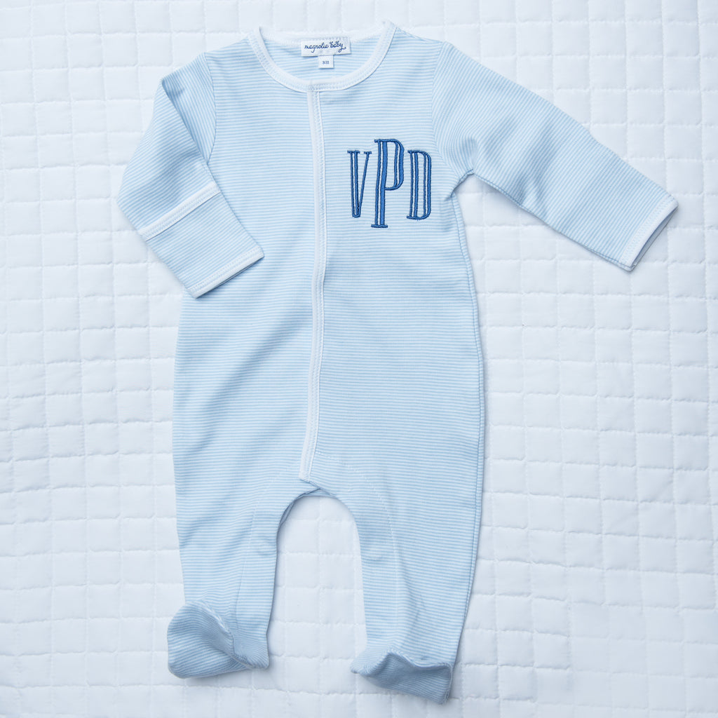 Magnolia Baby Essentials Blue Mini Stripe Footie - Personalization Available