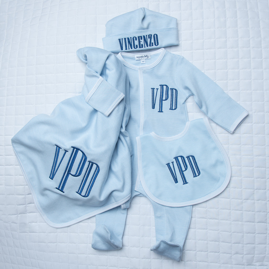 Magnolia Baby Boy Mini Stripe 4 Piece Layette Set - Personalization Available