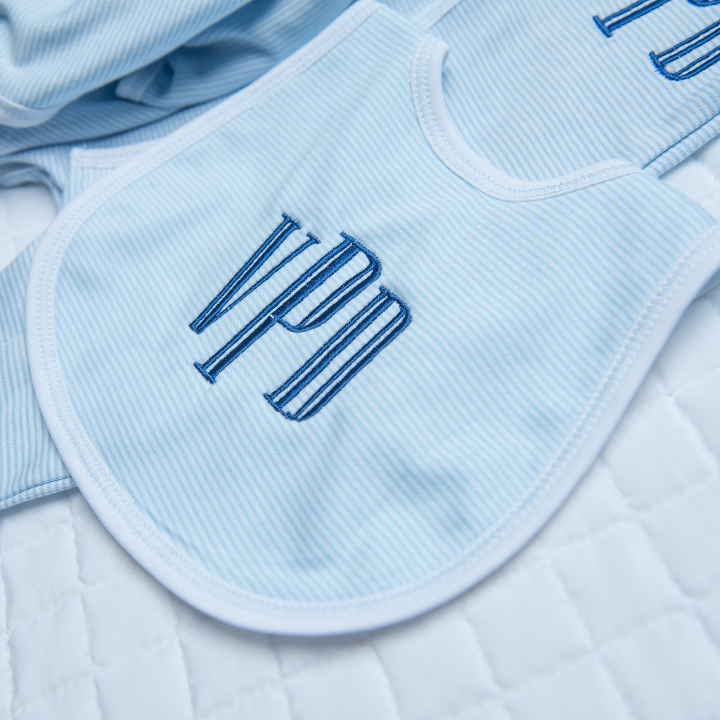 Magnolia Baby Essentials Blue Mini Stripe Bib - Personalization Available