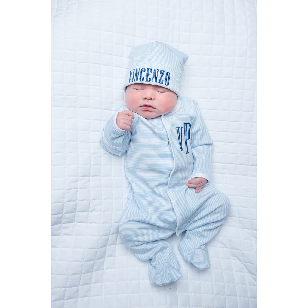 Magnolia Baby Blue Mini Stripe Footie + Hat Set
